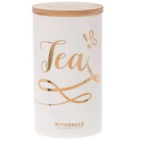Witte Voorraadpot Tea - Ø9,5xH18,5 cm