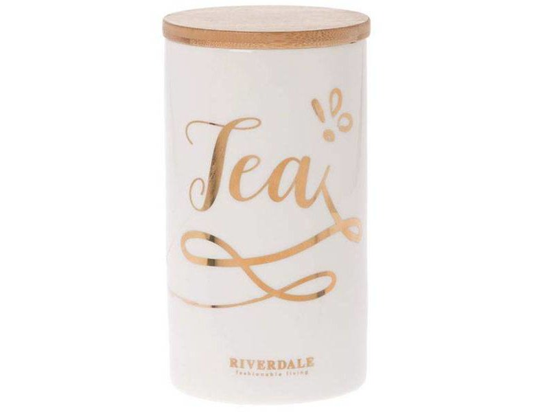 Riverdale Witte Voorraadpot Tea - Ø9,5xH18,5 cm
