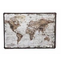 Wandkaart Wereld Canvas/Metaal - 80x3xH60 cm