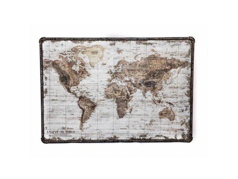 GeWoon Wandkaart Wereld Canvas/Metaal - 80x3xH60 cm