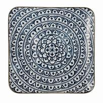 Blauw Dinerbord Bloom Vierkant - Setje van 6 stuks