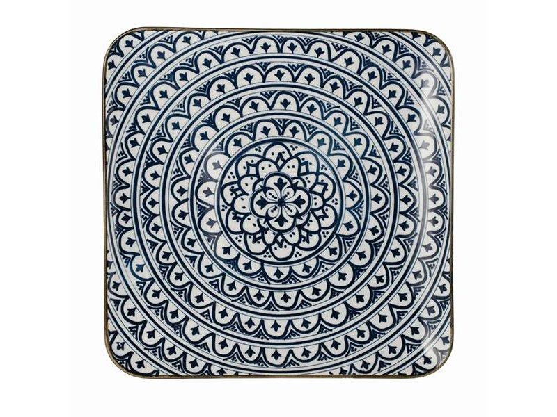 Riverdale Blauw Dinerbord Bloom Vierkant - Setje van 6 stuks