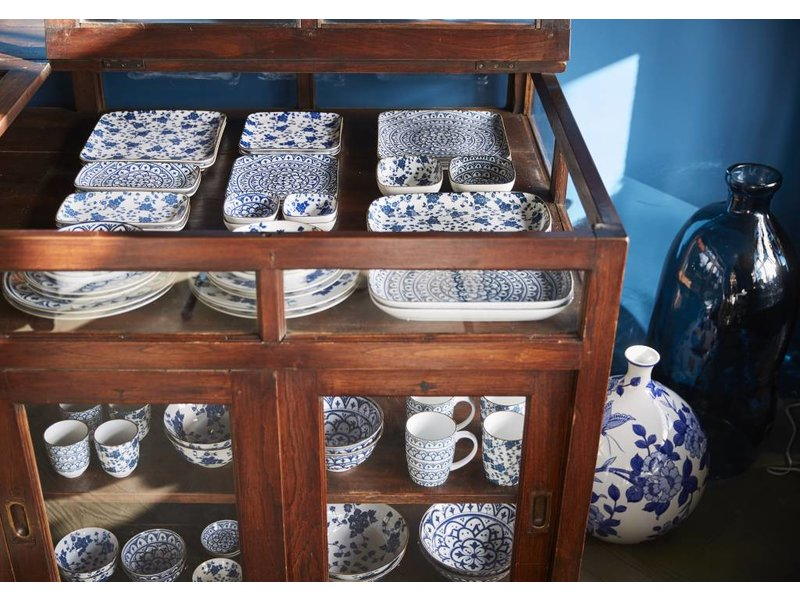 Riverdale Blauw Dinerbord Bloom Vierkant - 26x26 cm