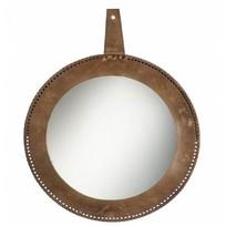 Wandspiegel Cognac Leder - Ø90 cm
