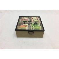 Houten Theedoos Tea - 16,5x16,5xH8 cm