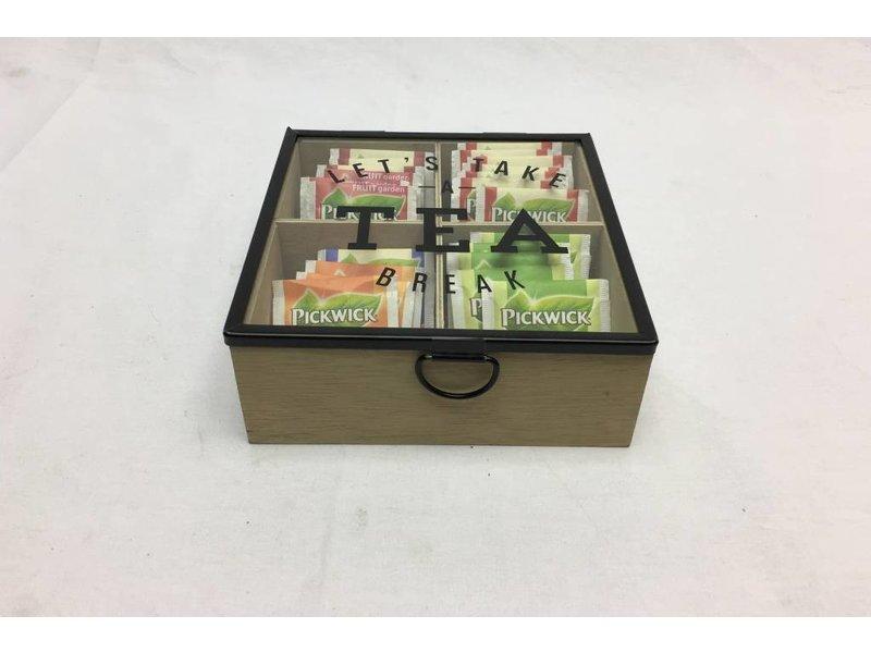 GeWoon Houten Theedoos Tea - 16,5x16,5xH8 cm