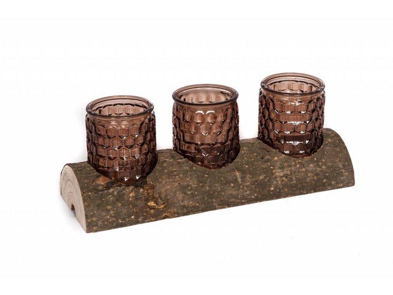 GeWoon Boomstam met bruine kaarsenhouders - 30x5xH10,5 cm