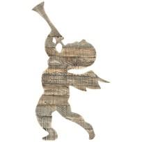 Grijze Houten Kerstengel - 64x2,5xH72 cm