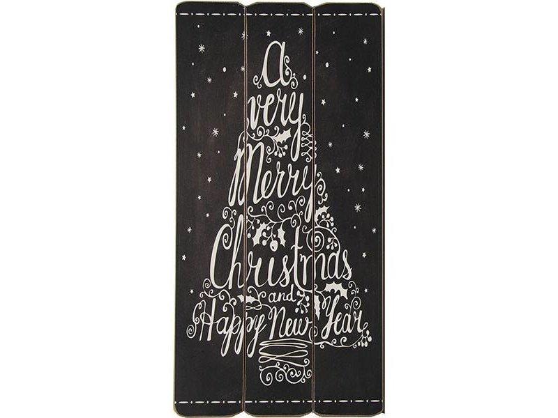 Countryfield Zwart Houten Tekstbord Christmas - 30x1xH60 cm