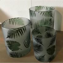 Set waxinelichthouders Jungle Groen