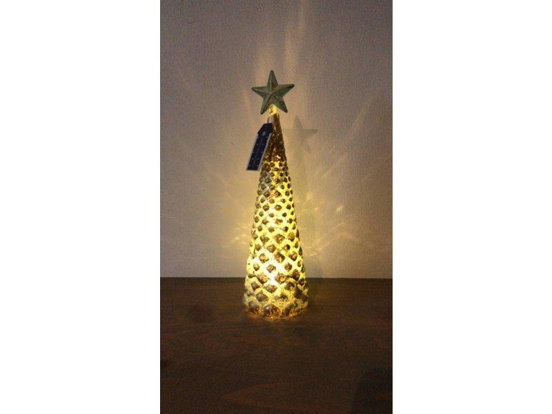 GeWoon Glazen Kerstboom Koper - Ø7,5xH23,5 cm
