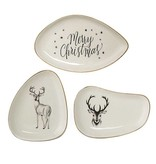 Bloomingville Wittte Bordjes Kerst - Set van 3 stuks