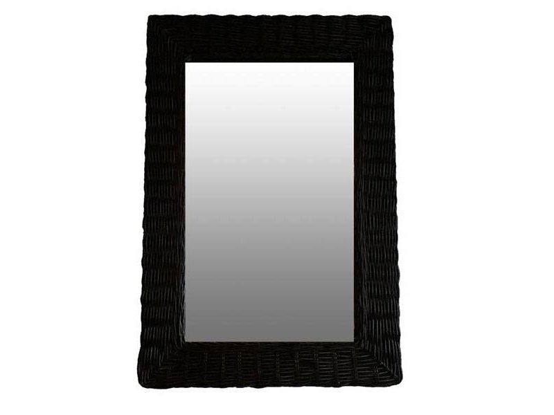 GeWoon Zwarte Rieten Wandspiegel - 52xH77 cm