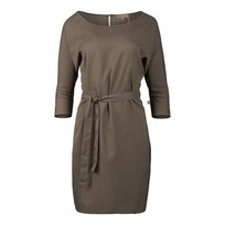 Sjiek jurkje met ceintuur leemgroen - L/XL