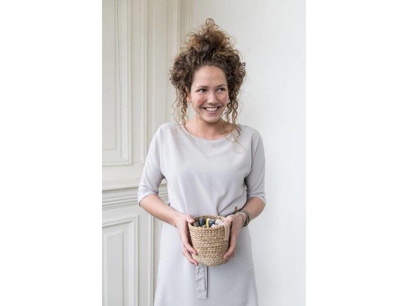 Zusss Sjiek jurkje met ceintuur krijt - L/XL
