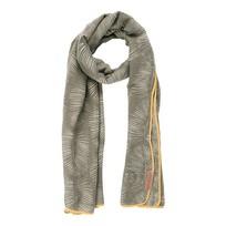Sjaal met blad leemgroen