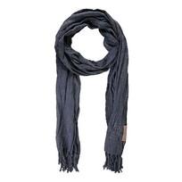 Nonchalante sjaal met franje nachtblauw