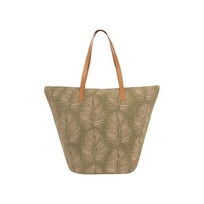 Strandtas met bladprint groen