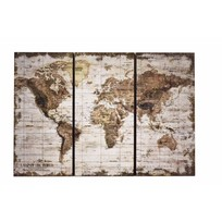 Wandkaart Globe 3-delig Wit - 120x2,5xH80 cm