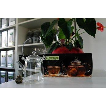 Klein Glazen Theepotje met Zeefje voor Onze Theebloemen van 350ml