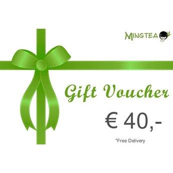 Bon cadeau d'une valeur de € 40