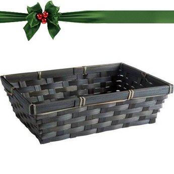 Geschenkverpackung : Schwarzes  rechteckiges Bambuskörbchen mit Kärtchen
