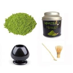 Matcha Ceremonial Organic 40g + bamboe klopper& houder + lepeltje