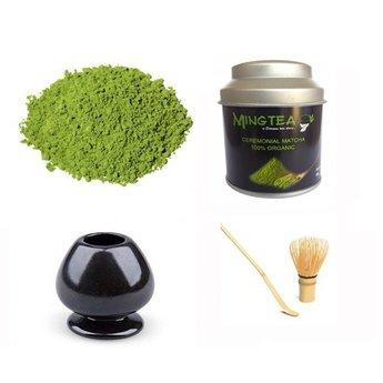 Matcha Ceremonial Organic 40g + fouet en bambou & support + cuillère à thé