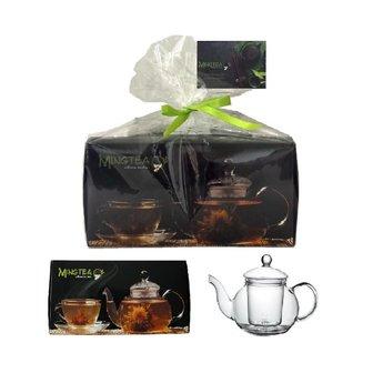 12 Teeblumen + gläsernen Teekanne JADE