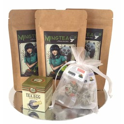 Coffret cadeau cellophane: 3 thés BIO + 2 Fleurs de thé + Oeuf à Thé