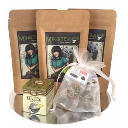 Geschenkset in cellophanfolie: 3 BIO Tees + 2 Teeblumen +   Tee-Ei