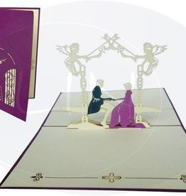 Pop Up Hochzeitskarte, Brautpaar im Schlossgarten (violett)