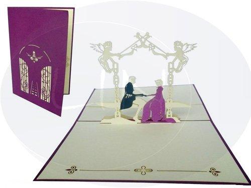 Bridal pair in castle garden (violet)