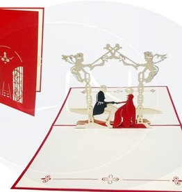 Pop up wedding card, bridal pair in a castle garden (red)