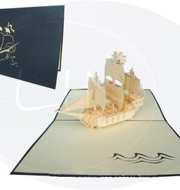 Pop up birthday card, sailing boat galleon (var.1) (blue)