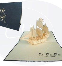 Pop Up Geburtstagskarte, Segelschiff (Galeone, Var. 1, blauer Umschlag)