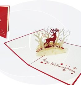 Pop up christmas card, reindeer in forest