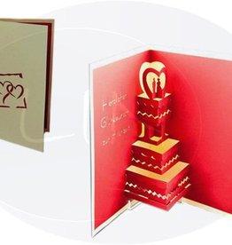 Pop up wedding card, wedding cake (creme_ger)