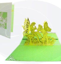 Pop Up Grußkarte, Flötende Elfen