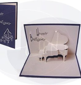 Pop up greeting card, piano (blue)