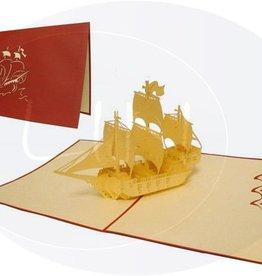 Pop Up Geburtstagskarte, Segelschiff (Galeone, Var. 1, roter Umschlag)