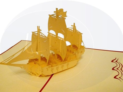 Sailing boat galleon (var. 1) (red)
