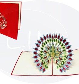 Pop Up Geburtstagskarte, Pfau mit entfaltetem Rad (blau)