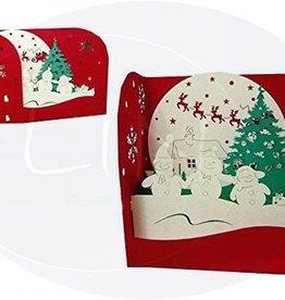 Pop up christmas box, three snowmen