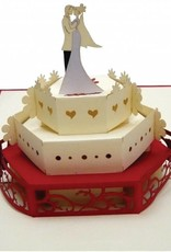 Pop Up wedding card, Wedding cake with bridal pair