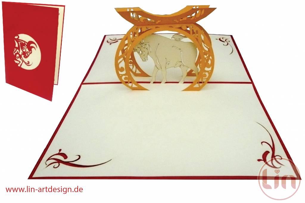 Pop Up Karte, Sternzeichen Stier