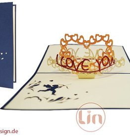 """Pop up greeting card, heart """"I love you"""" (blue)"""