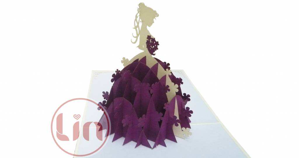 Pop up wedding card, wedding dress (violet) (Nr.224)