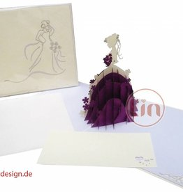 Pop up wedding card, wedding dress (violet)