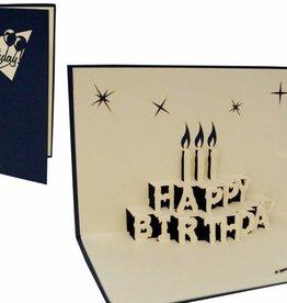 Pop Up Geburstagskarte, Geburtstagstorte mit Kerzen (blau)
